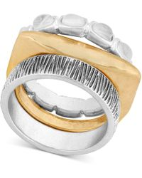 Lucky Brand - Two-tone Stone & Textured Stack-look Ring - Lyst