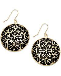 Macy's - Onyx Decorative Medallion Drop Earrings (23mm) In 14k Gold - Lyst
