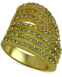 Guess - Gold-tone Pavé Multi-row Ring - Lyst