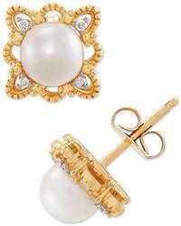 Macy's Cultured Freshwater Pearl (5-1/2mm) & Diamond Accent Stud Earrings In 10k Gold - Metallic