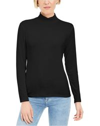 Style & Co. Mock-neck Top, Created For Macy's - Black
