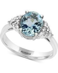 Effy Collection Aquamarine (1-3/4 Ct. T.w.) And Diamond (1/6 Ct. T.w.) Ring In 14k White Gold - Metallic