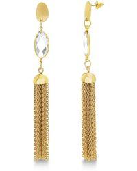 Catherine Malandrino White Rhinestone Marquise Shaped Tassel Style Yellow Gold-tone Dangle Earrings - Metallic