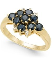 Macy's - Sapphire (1-1/3 Ct. T.w.) & Diamond Accent Cluster Ring In 14k Gold - Lyst