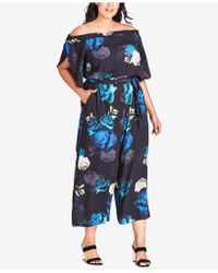 City Chic - Trendy Plus Size Electric Rose Printed Off-the-shoulder Jumpsuit - Lyst
