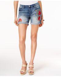 Vintage America | Colette Floral-embroidered Denim Shorts | Lyst