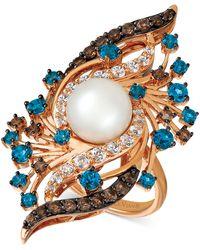 Le Vian Crazy Collection® Vanilla Pearltm (9mm) & Multi-gemstone (2-5/8 Ct. T.w.) Ring In 14k Rose Gold - Metallic