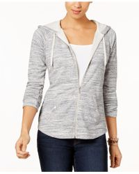 Style & Co. Petite French Terry Zip Hoodie, Created For Macy's - Gray