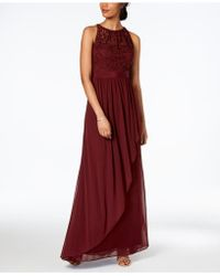 Adrianna Papell - Lace Illusion Halter Gown - Lyst
