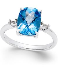 Macy's | Swiss Blue Topaz (3-3/4 Ct. T.w.) And Diamond Accent Ring In Sterling Silver | Lyst