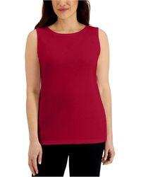 Karen Scott Cotton Scoop-neck Top, Created For Macy's - Red