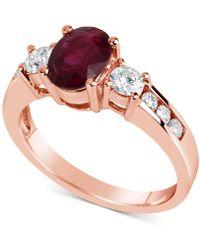 Macy's - Certified Ruby (1-1/2 Ct. T.w.) & Diamond (1/2 Ct. T.w.) Ring In 14k Rose Gold - Lyst
