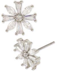 Betsey Johnson Silver-tone Crystal Flower Stud Earrings - Metallic