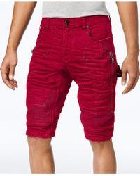 Heritage America Men's Denim Moto Cargo Shorts - Red