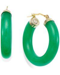 Macy's | Jade Hoop Earrings In 14k Gold (27-1/2mm) | Lyst