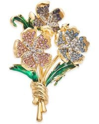 Charter Club Gold-tone Multicolour Crystal Flower Bouquet Pin, Created For Macy's - Metallic