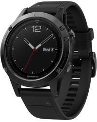 Garmin - Men's Fenix 5 Multisport Black Silicone Band Smart Watch 47mm 010-01733-00 - Lyst