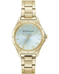 BCBGeneration Ladies 3 Hands Gold-tone Stainless Steel Bracelet Watch, 34 Mm Case - Metallic