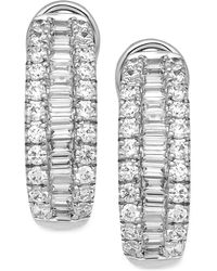Macy's - Diamond Hoop Earrings (1-1/2 Ct. T.w.) In 14k White Gold - Lyst