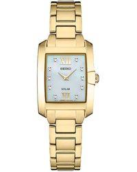 Seiko - Women's Solar Dress Sport Diamond-accent Gold-tone Stainless Steel Bracelet Watch 24mm - Lyst