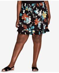5bb69afdc7e39 Lyst - City Chic Trendy Plus Size Satin Midi Skirt in Black