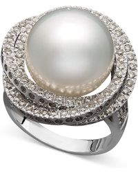 Macy's - 14k White Gold Ring, Cultured South Sea Pearl (13mm) And Diamond (1 Ct. T.w.) Ring - Lyst