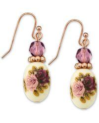 2028 - Rose Gold Tone Purple Crystal Bead Flower Drop Earrings - Lyst