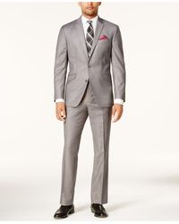 Kenneth Cole Reaction Ready Flex Basketweave Slim-fit Big And Tall Suit - Gray
