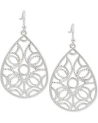 Touch Of Silver | Teardrop Filigree-patterned Drop Earrings In Silver-plated Metal | Lyst