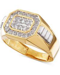 Macy's Men's Diamond Rectangle Ring In 14k Gold (1/2 Ct. T.w.) - Metallic