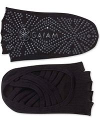Gaiam Grippy Toeless Yoga Socks - Black
