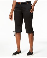 Karen Scott - Petite Twill Tie-hem Bermuda Skimmers, Created For Macy's - Lyst