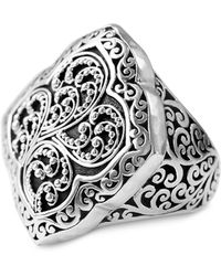 Lois Hill Scroll Work Statement Ring In Sterling Silver - Metallic