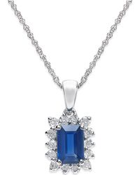 Macy's - Sapphire (5/8 Ct. T.w.) And Diamond (1/5 Ct. T.w.) Pendant Necklace In 14k White Gold - Lyst