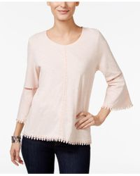 Style & Co. - Crochet-trim Bell-sleeve Top - Lyst