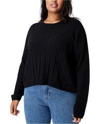 Cotton On Trendy Plus Size Riley Cotton Knit Sweater - Black