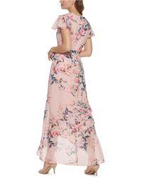 Eliza J Ruffled Floral-print Maxi Dress - Pink