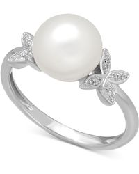 Macy's - Cultured Freshwater Pearl (9mm) And Diamond Accent Butterfly Ring In Sterling Silver - Lyst