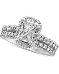 Macy's Diamond Halo Bridal Set (1-1/2 Ct. T.w.) In 14k White Gold - Metallic