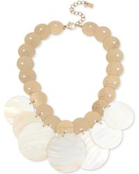 """Robert Lee Morris - Gold-tone Mother-of-pearl-look Disc Statement Necklace, 17"""" + 3"""" Extender - Lyst"""