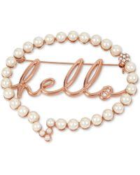 Betsey Johnson - Rose Gold-tone Pavé & Imitation Pearl Hello Bubble Pin - Lyst