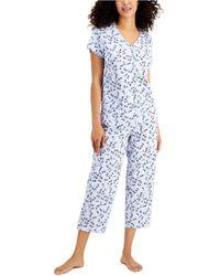 Charter Club Printed Cotton Capri Pants Pajama Set, Created For Macy's - Blue