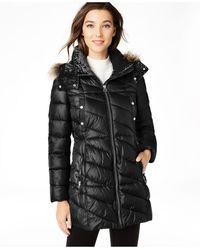 Marc New York Velvet-trim Faux-fur Hooded Puffer Coat - Black