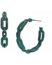 Robert Lee Morris Patina Link Hoop Earrings - Multicolor