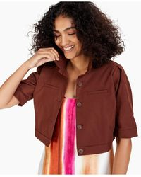 Alfani Cropped Elbow-sleeve Jacket, Created For Macy's - Brown