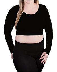 Skinnytees Plus Long Sleeve Crop Top - Black
