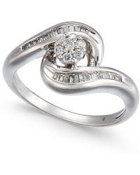 Macy's - Diamond Swirl Cluster Promise Ring (1/4 Ct. T.w.) In Sterling Silver - Lyst