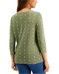 Karen Scott Plus Size 3/4-sleeve Printed Top, Created For Macy's - Green