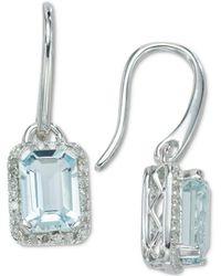 Macy's - Aquamarine (1-4/5 Ct. T.w.) & Diamond (1/8 Ct. T.w.) Drop Earrings In 14k White Gold - Lyst