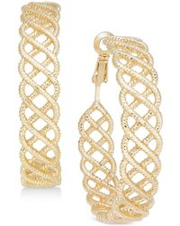 INC International Concepts - Gold-tone Textured Woven Hoop Earrings - Lyst